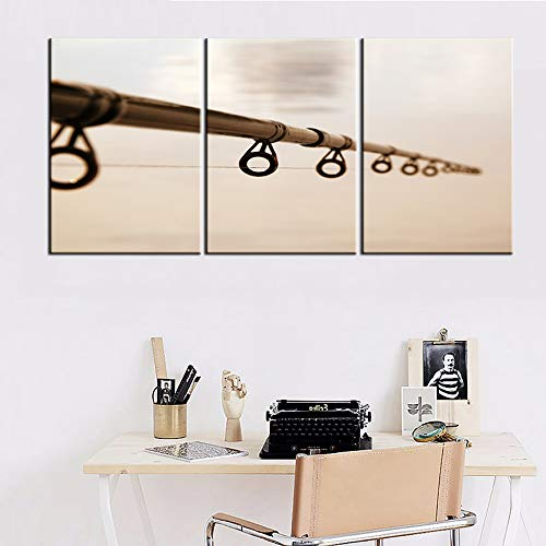 """Living Room Decorations for Wall Fishing Tackle Pictures Black and White Wall Art 3 Pieces Printed on Canvas Artwork Gallery-Wrapped Vintage Paintings House Decor Framed Ready to Hang(42""""WX20""""H)"""