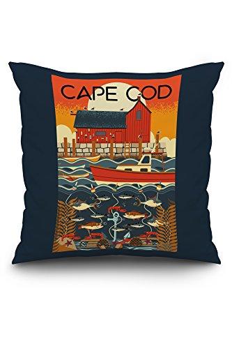 Cape Cod, Massachusetts - Nautical Geometric (20x20 Spun Polyester Pillow, Custom Border) ()
