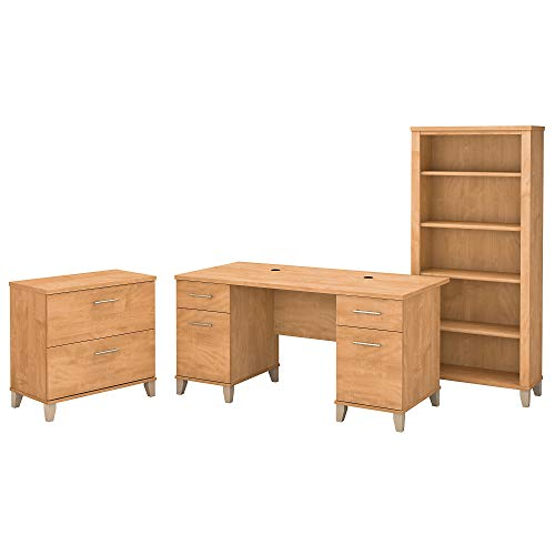Bush Furniture Somerset 60W Office Desk with Lateral File Cabinet and 5 Shelf Bookcase in Maple Cross