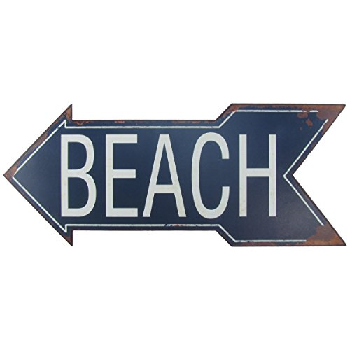 Large Metal To The Beach Arrow Tin Metal Sign Nautical Seaside
