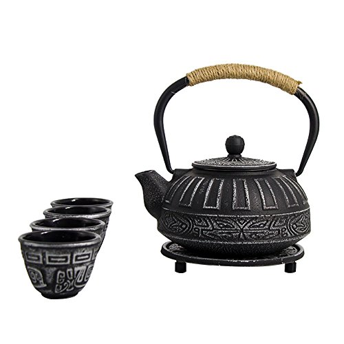 japanese cast iron teapot set - 2