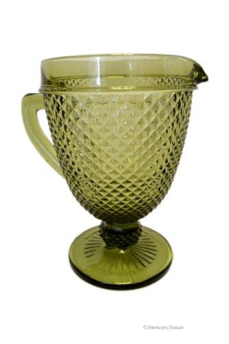 Large 51oz/1.5L Diamond Depression Style Glass Emerald Green Water Jug Pitcher