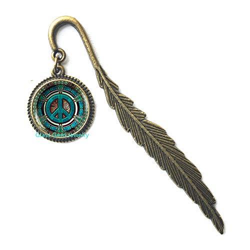 Hippie Bookmark, Hippie Bookmarker, Hippie Jewelry, Peace Sign Bookmark, Peace Jewelry, Peace Bookmarker, Men's Bookmark, Hippie Men's Jewelry,Q0066