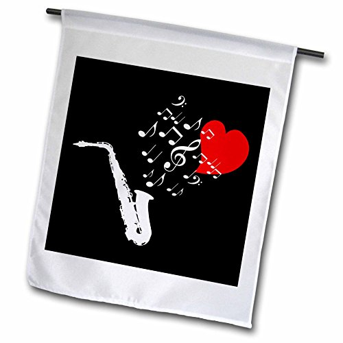 3dRose Alexis Design - Music - I love saxophone music red heart and notes on black background - 12 x 18 inch Garden Flag (Love Saxophone)