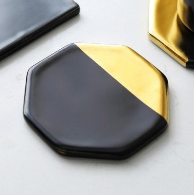 Octagon Desktop - Sophisticate Black Marble Plating Gold Ceramic Coaster Cup Mats Pads Home Decorations Kitchen Tools Desktop Non-Slip Luxury Pad Europe Style: Octagon