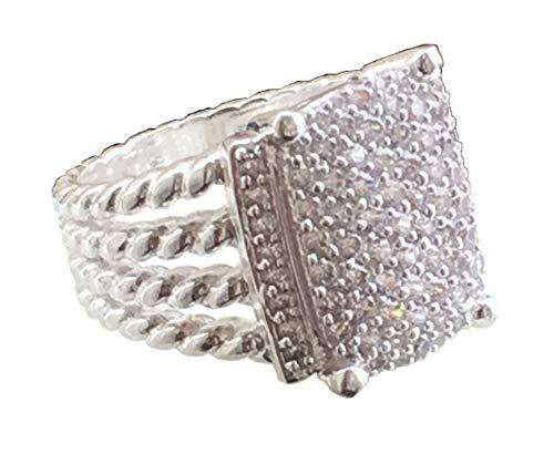David Yurman Pave Ring - Gempara Designer Inspired Wheaton Ring 16 x 12mm with 1.22 Simulated Pavé Diamonds Size 7 8 9 10 11 (7)