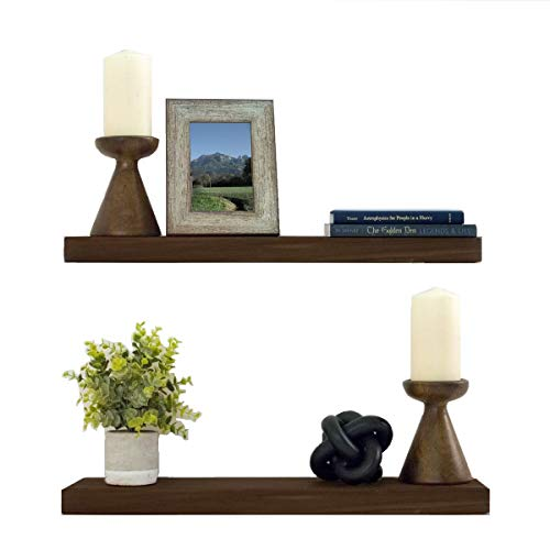 "Floating Shelves Wood Floating Shelves Set - New England Handcrafted Rustic Pine Kitchen Office Bedroom Wall Mounted Smooth Finish Organizers 2 Pack (2'' x 6 x 24'' & 36"") (Dark Walnut, 24'')"