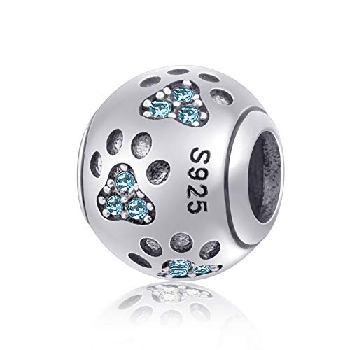 Emostar Dog Paw Print Charm with Birthstone Crystal European Pawprint Beads for 3mm Snake Chain Animal Pet Bracelet (Aquamarine)