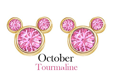 October Birthstone Tourmaline Mickey Mouse Stud Earrings In 14k Yellow Gold Over Sterling Silver October Birthstone Tourmaline