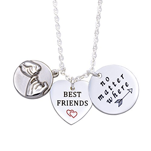 O.RIYA Best Friends No Matter Where Necklaces Heart (Silver-Plated) ()