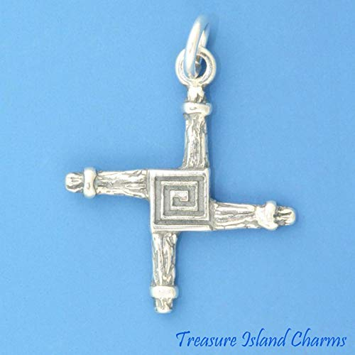 Irish St Saint Brigid Cross .925 Solid Sterling Silver Charm DIY Jewelry Making Supply for Charm Pendant Bracelet by Charm Crazy]()
