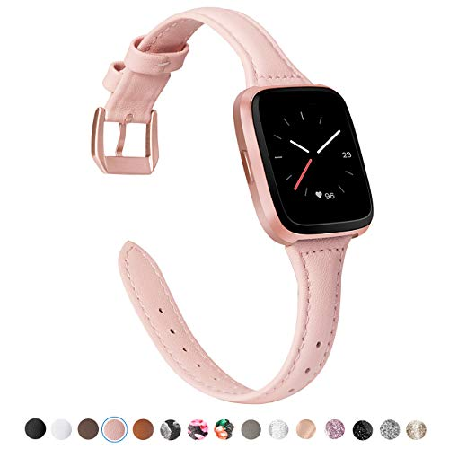 TOYOUTHS Leather Strap Compatible with Fitbit Versa Bands, Slim Genuine Leather Wristbands Replacement for Versa Lite Special Edition Versa Classic Accessories Blush Pink+Rose Gold Buckle ()