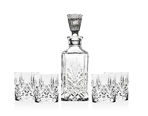 Shannon 5 Piece Crystal Whiskey Bar Set - 4 Dofs & 1 Decanter With Tall - Set Bar Crystal