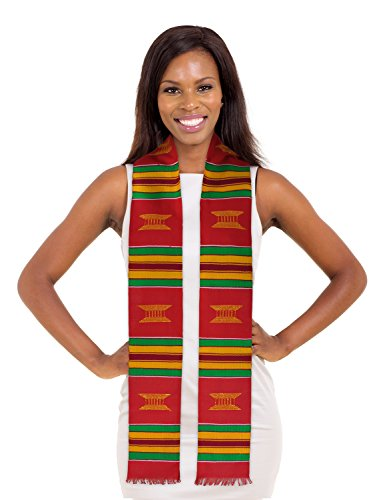 ADVANSYNC Kente Cloth Graduation Stole Red, Yellow or Purple and Our Daily Bread Book ()
