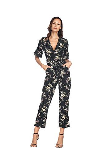 Hrokk Women's Floral Print Short Bubble Sleeves Playsuits Surplice Neckline Jumpsuits with Belt (Floral Print, (Bubble Sleeve)