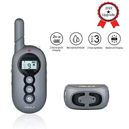 MIHUI 2019 Dog Training Collar-Rechargeable Dog Shock Collar 3 Training Modes,100% Waterproof Training Collar,Up to 1000Ft Remote Range,Best Training Collar Dogs (Best Gifts For Dogs 2019)