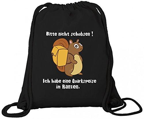 ShirtStreet Premium Bio Baumwoll Turnbeutel Rucksack Stanley Stella Eichhörnchen - Bitte nicht schubsen Black