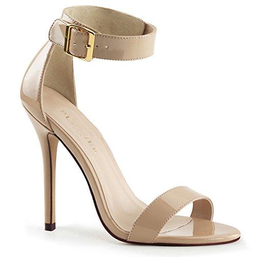 Pleaser Amuse-10 sexy High Heels Riemchen Sandaletten Lack Beige Creme 35-45 Übergröße