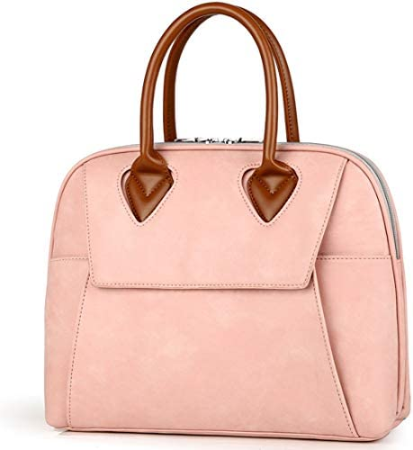 BLOOMSTAR Fashion PU Leather Business Bag Briefcase for Men and Women Cross Body Shoulder Laptop Bag Messenger Satchel Tote Handbag Pink