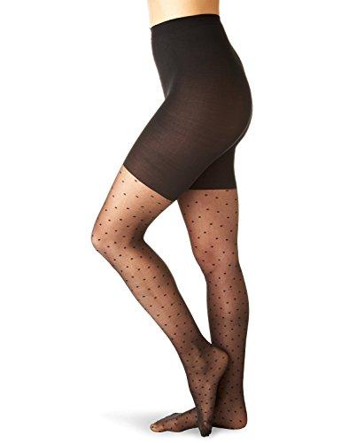 SPANX Sheer Fashion Shaping Swiss Dot Patterned Pantyhose, B, Black [Apparel]...