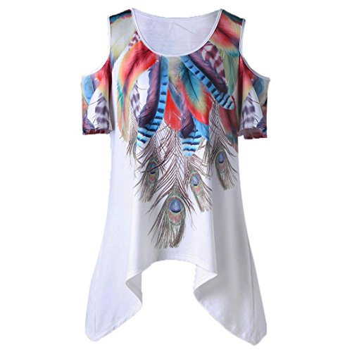 Flower Print Cami - Limsea Hot Sale! Women Loose Leisure Feather Print Cold Shoulder Asymmetrical Tops