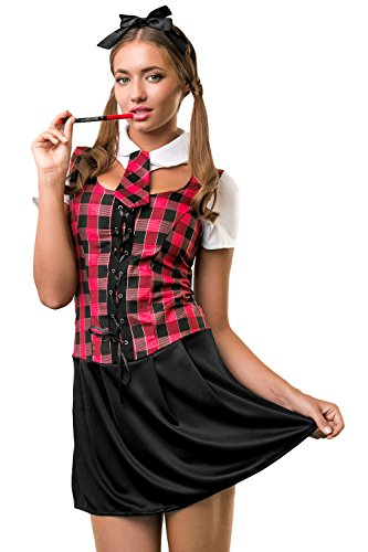 Adult Women Sexy Schoolgirl Costume Cosplay Girl Role Play Student Pupil Dress Up (X-Small, Red, Black, White)
