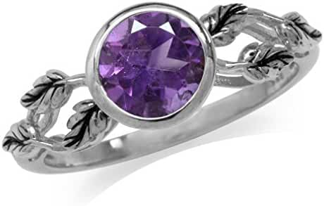1.15ct. Natural African Amethyst 925 Sterling Silver Leaf Solitaire Ring