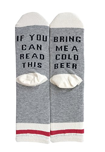 Field4U Womens Funny Saying Knitting Word Wine Beer Novelty Crew Socks Party Gift - 1 Pair Cold Beer , One Size from Field4U