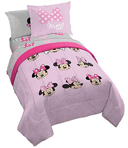 Jay Franco Dinsey Minnie Mouse Faces 7 Piece Full Bed Set - Includes Reversible Comforter & Sheet Set Bedding - Super Soft Fade Resistant Microfiber - (Official Dinsey Product) (Mini Mouse Bed Set)