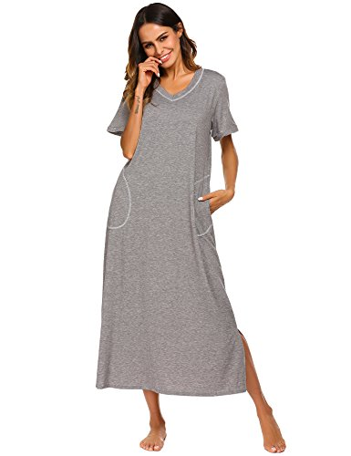 Ekouaer Womens Ultra-Soft Full Length Sleepwear Night Dress (Grey, X-Large)