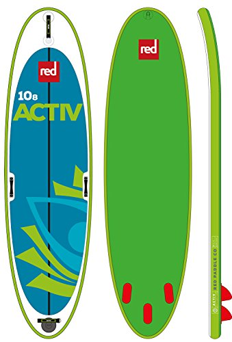 """2017 Red Paddle Co. Activ 10'8"""" x 34"""" Inflatable Paddleboard Package with Titan Pump – Backpack – And Free Vamo 10' Black Coiled Leash"""