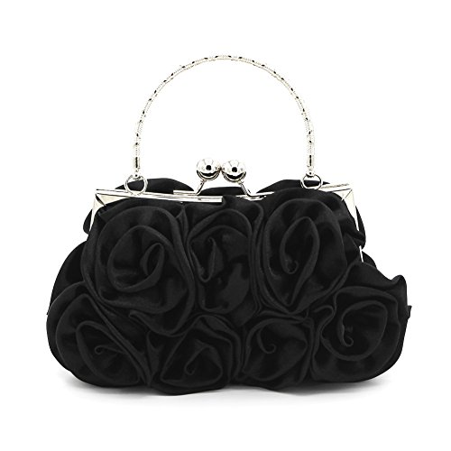 Black Silk Clutch - Kingluck Silk Shell with Flower Evening Handbags/Clutches/Top Handle Bags More Colors Available (black)