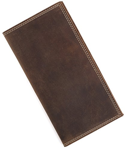 Check Leather Wallet (Men RFID Vintage Look Genuine Leather Long Bifold Wallet)