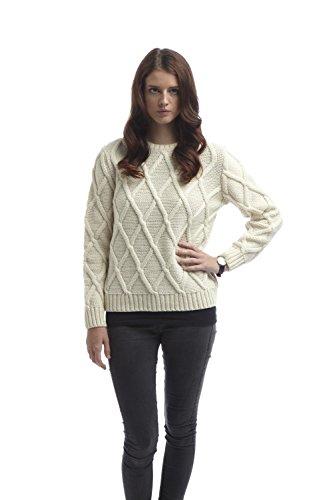 Ecru Crosses (Womens Cross Check Sweater Ecru-XXL)