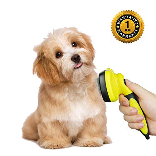 (Zoneyee Dog Brush Self Cleaning Slicker Pet Brush Soft Grip Handle Shedding Brush Gently Removes Loose Undercoat Mats Tangled Hair Shed)