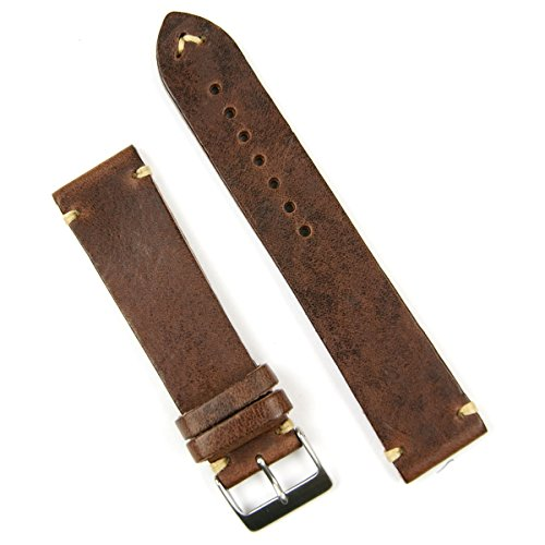 B & R Bands 20mm Chestnut Classic Vintage Italian Leather Watch Band Strap - Small Length