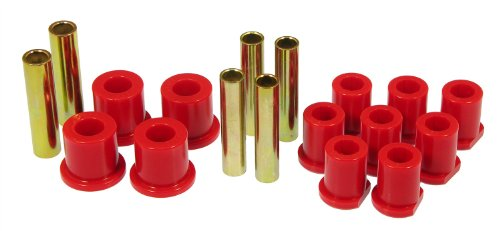 Spring Rear Bushings - Prothane 6-1020 Red Rear Spring Eye and Shackle Bushing Kit