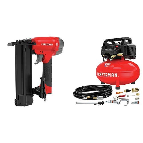 CRAFTSMAN 18GA Finish Nailer with Air Compressor, 6 gallon, Oil-Free Kit (CMPBN18K & CMEC6150K)