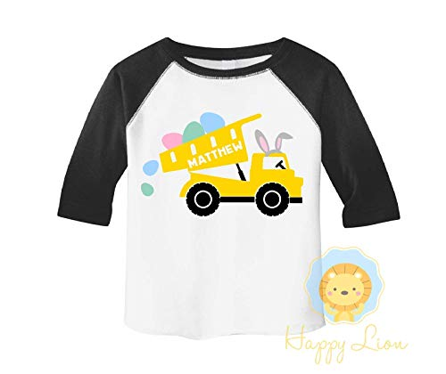 Happy Lion Clothing - Toddler Boys Easter shirts, Custom Personalized Easter Outfit, Cute Dump Truck Easter Kids Tees Raglan Shirt