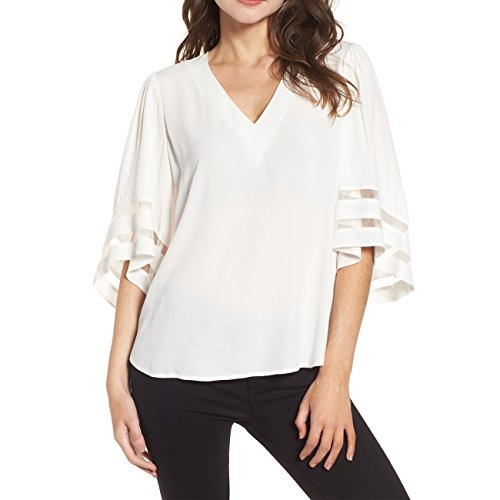 Shy Velvet Women's V Neck 3/4 Bell Sleeve Chiffon Blouse Mesh Panel Loose Top Shirts White