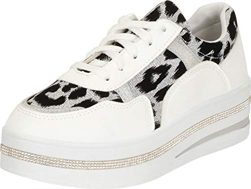 (Cambridge Select Women's Low Top Leopard Crystal Rhinestone Lace-Up Chunky Platform Fashion Sneaker,10 B(M) US,White)