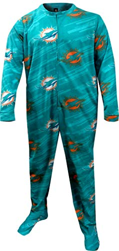 Concepts Sport Men's Miami Dolphins One Piece Footie Pajama (Large) Teal