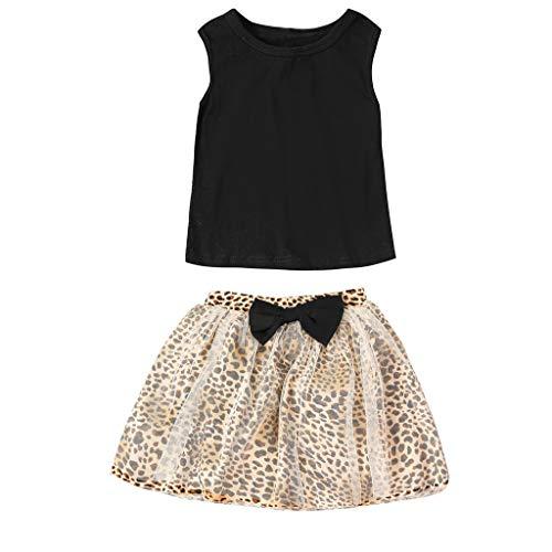 2PCs Newborn Kid Baby Girls Solid Top+ Bowknot Leopard Print Skirt Outfits Sets Black