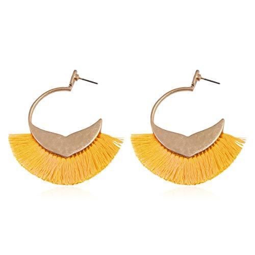 (Bohemian Silky Thread Tassel Strand Fringe Statement Hoop Earrings - Lightweight Semi Circle Fan Threader Dangles (Mermaid Tail Hoops - Yellow))
