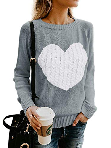 Elegantcharm Women's Pullover Sweaters Knitted Long Sleeve Crewneck Heart Patchwork Jumper Cozy Tops Grey, Large