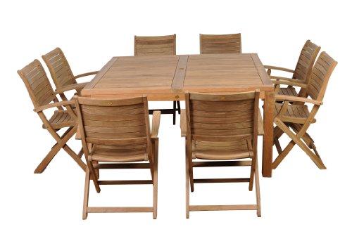Amazonia Teak Boynton 9-Piece Teak Square Dining Set
