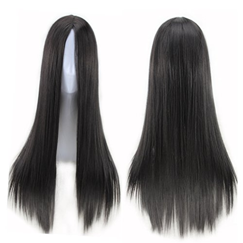 Long Black Dress Halloween Costumes (75cm Long Hair Heat Resistant Straight Cosplay Wig(Black))