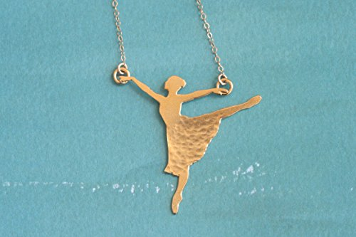 Gold Ballerina Dancer Necklace