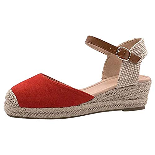 Weaving Women Sandals - POHOK Europe And The United States Large Size Women'S Shoes Pump Solid Color Wedge Sandals(40,Red)