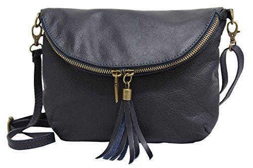 AMBRA Moda Sac à bandoulière en cuir lisse italien pochette Sacs portés épaule petit pour femme NL609 Bleu Foncé